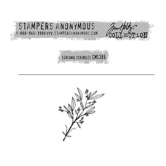 Tim Holtz Stampers Anonymous Christmas Mini Red Rubber Cling Stamp Seasonal Scribbles   Branches