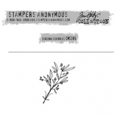 Tim Holtz Stampers Anonymous Christmas Mini Red Rubber Cling Stamp Seasonal Scribbles | Branches
