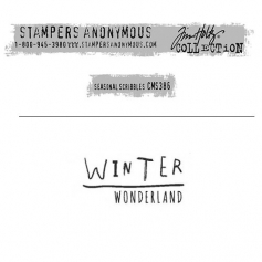 Tim Holtz Stampers Anonymous Christmas Mini Red Rubber Cling Stamp Seasonal Scribbles | Winter Wonderland