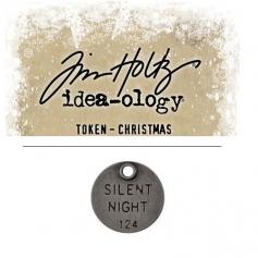 Tim Holtz Idea-ology Christmas Metal Typed Token Antique Nickel Silent Night