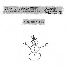 Tim Holtz Stampers Anonymous Christmas Mini Red Rubber Cling Stamp Seasonal Scribbles | Snowman