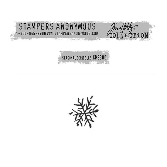 Tim Holtz Stampers Anonymous Christmas Mini Red Rubber Cling Stamp Seasonal Scribbles | Snowflake