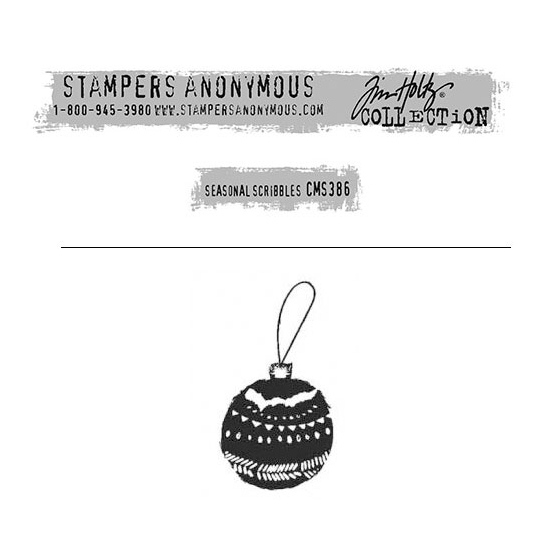 Tim Holtz Stampers Anonymous Christmas Mini Red Rubber Cling Stamp Seasonal Scribbles | Ornament