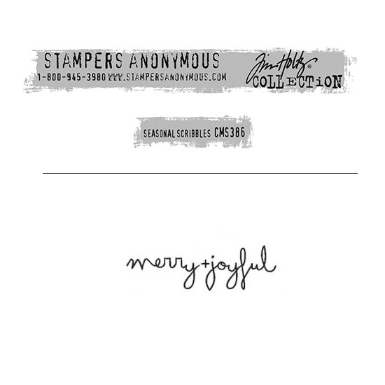 Tim Holtz Stampers Anonymous Christmas Mini Red Rubber Cling Stamp Seasonal Scribbles | Merry Joyful