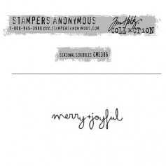 Tim Holtz Stampers Anonymous Christmas Mini Red Rubber Cling Stamp Seasonal Scribbles   Merry Joyful