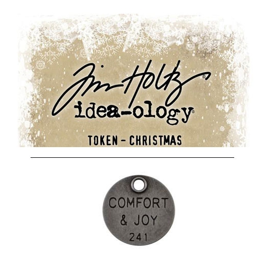 Tim Holtz Idea-ology Christmas Metal Typed Token Antique Nickel Comfort and Joy