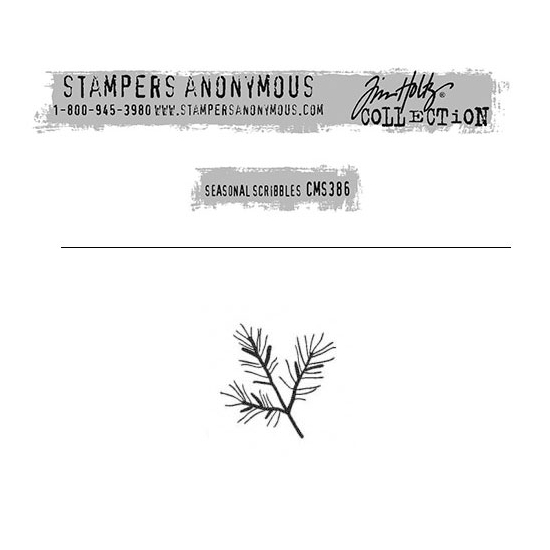 Tim Holtz Stampers Anonymous Christmas Mini Red Rubber Cling Stamp Seasonal Scribbles | Pine Leaves