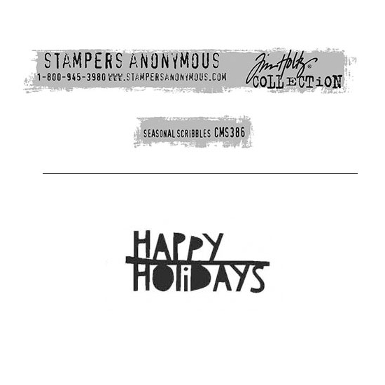 Tim Holtz Stampers Anonymous Christmas Mini Red Rubber Cling Stamp Seasonal Scribbles | Happy Holidays