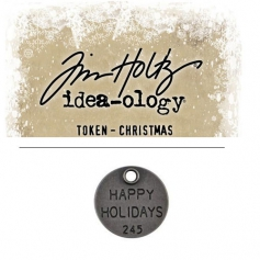 Tim Holtz Idea-ology Christmas Metal Typed Token Antique Nickel Happy Holidays
