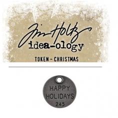 Tim Holtz Idea-ology Christmas Metal Typed Token Antique Nickel Happy Holidays