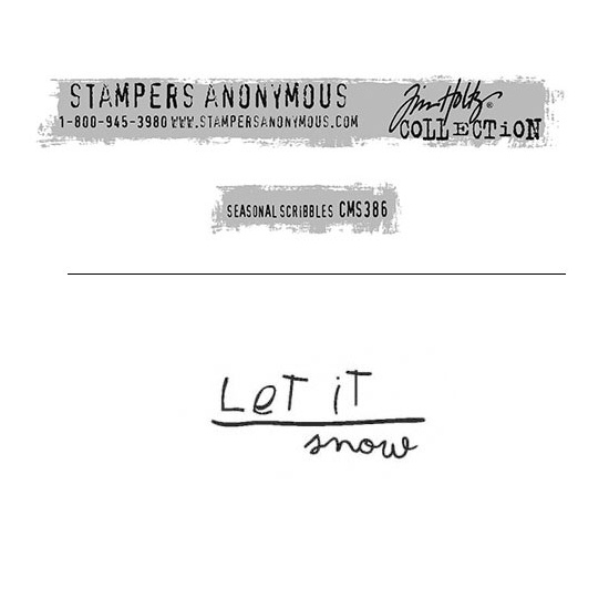 Tim Holtz Stampers Anonymous Christmas Mini Red Rubber Cling Stamp Seasonal Scribbles | Let it Snow
