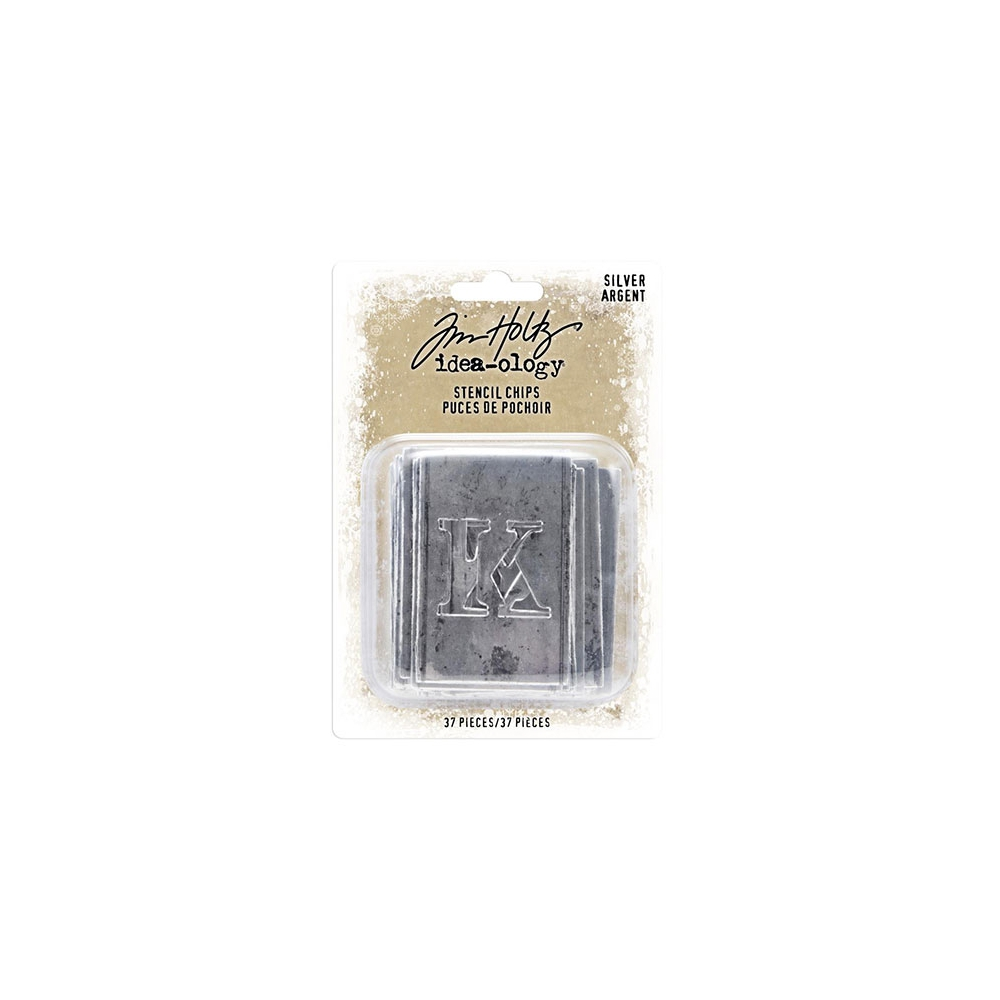 Tim Holtz Idea-ology Christmas Silver Stencil Chips Thin Chipboard