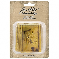Tim Holtz Idea-ology Gold Stencil Chips Thin Chipboard