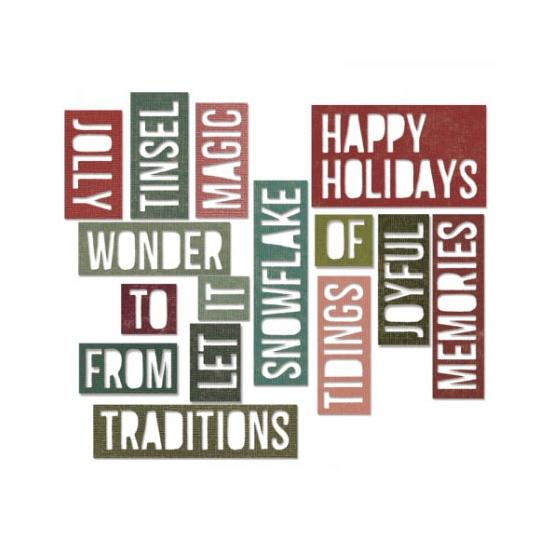 Sizzix Tim Holtz Alterations Die Thinlits Holiday Words 2 Block