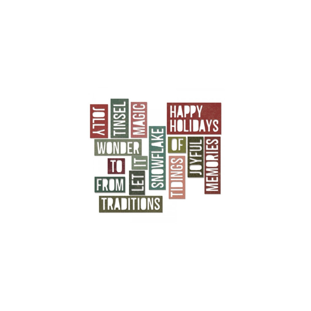 Sizzix Tim Holtz Alterations Die Thinlits Holiday Words 2 Block