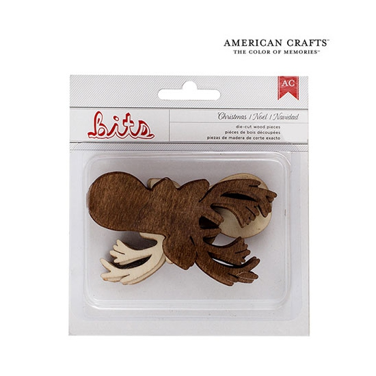 American Crafts Bits Wood Veneer Deer Christmas