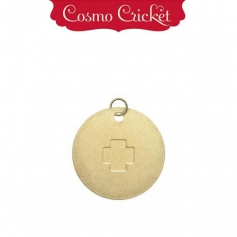 Cosmo Cricket Gold Metal Charm Embellishment Embossed Plus Sign