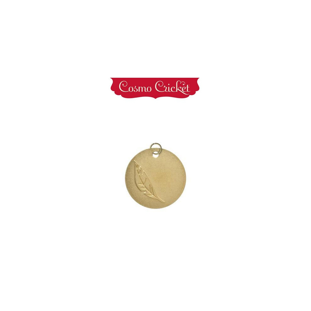 Cosmo Cricket Gold Metal Charm Embellishment Embossed Feather