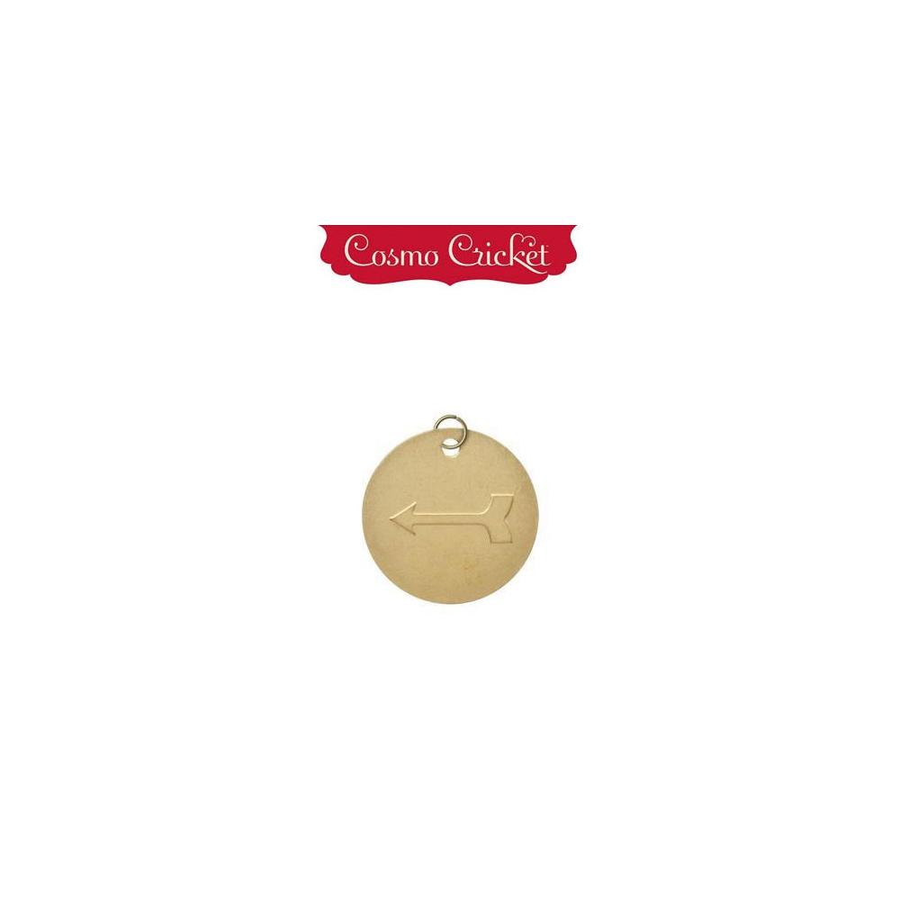 Cosmo Cricket Gold Metal Charm Embellishment Embossed Arrow