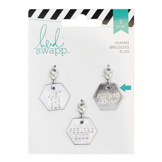 Heidi Swapp Metal Charm Hexagon [Create Magic] Wanderlust Collection