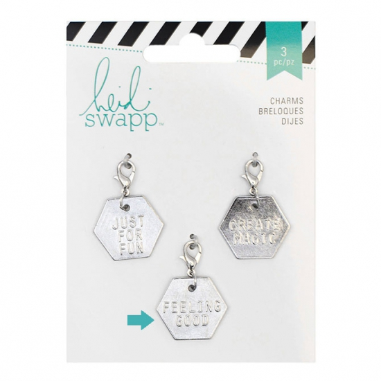 Heidi Swapp Metal Charm Hexagon [Feeling Good] Wanderlust Collection