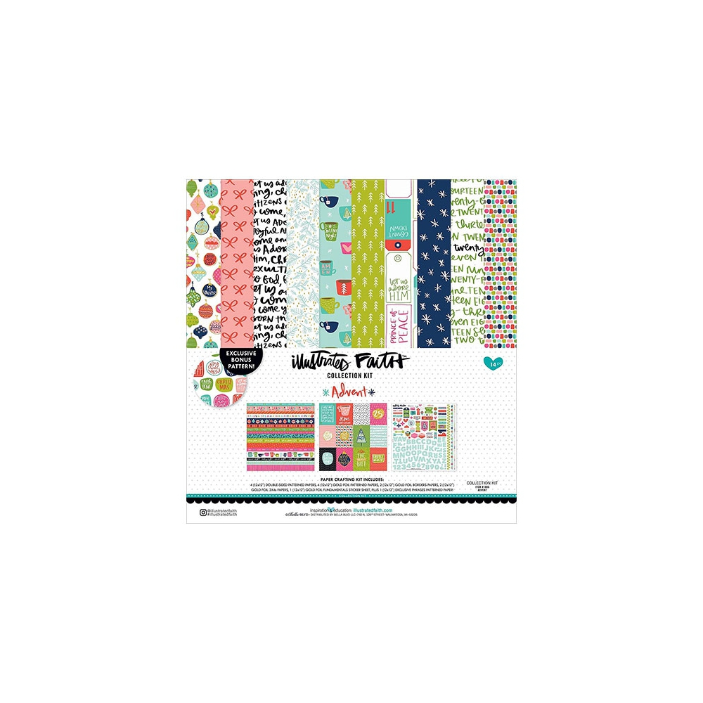 Illustrated Faith Advent Kit Collection 12 x 12 With Foil Accents