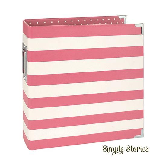 Simple Stories Snap Designer Binder 6x8 Pink Stripe
