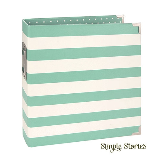 Simple Stories Snap Designer Binder 6x8 Robins Egg Stripe