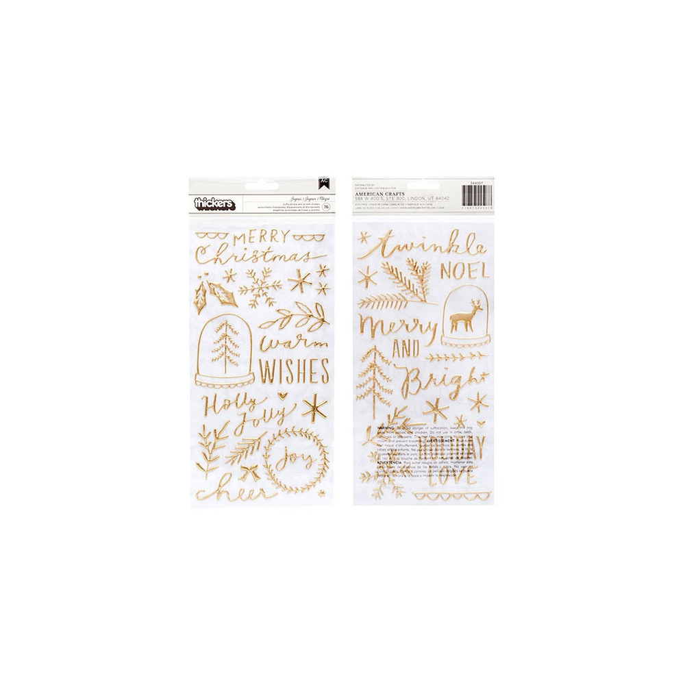 Crate Paper Thicker Stickers Phrase and Accent Gold Puffy Joyous Merry Days Collection