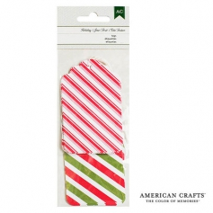 American Crafts Christmas Tags Red and Green Striped