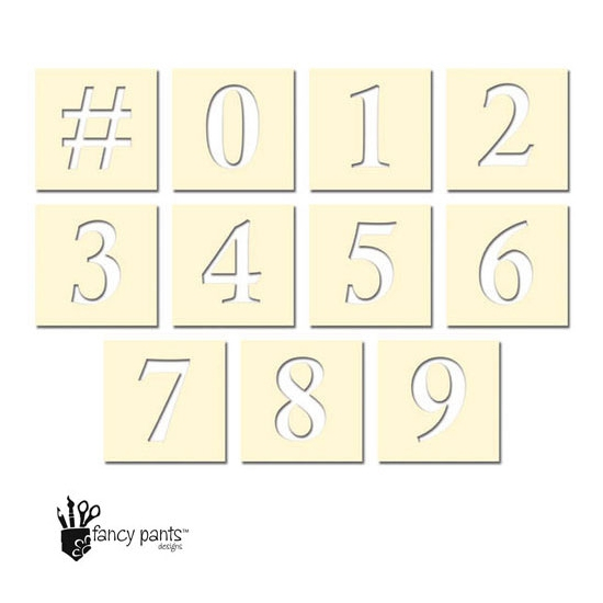 Fancy Pants Designs Die Cut Numbers Stencil Cards Artist Edition Collection