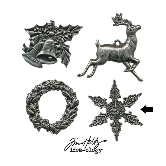Tim Holtz Idea-ology Metal Star Charm Adornment Christmas
