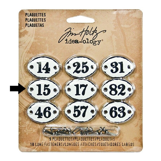 Tim Holtz Idea-ology Metal Plaquette Number 15 + Long Fasteners