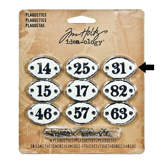 Tim Holtz Idea-ology Metal Plaquette Number 31 + Long Fasteners