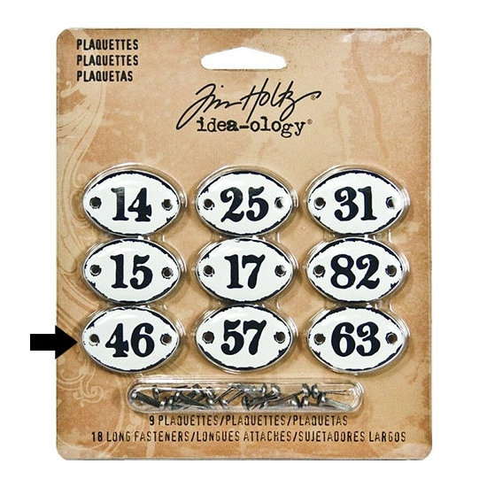 Tim Holtz Idea-ology Metal Plaquette Number 46 + Long Fasteners