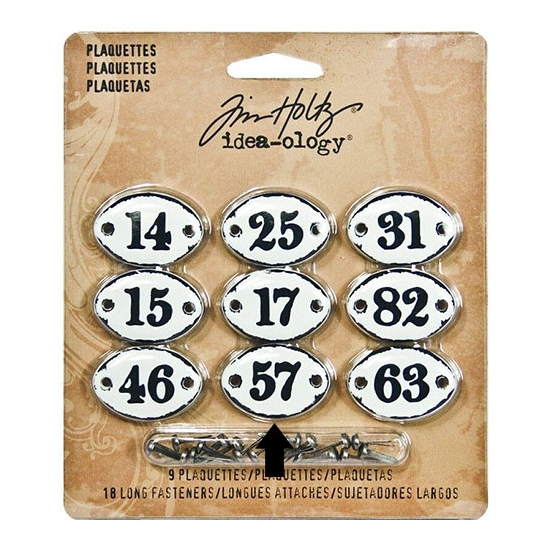 Tim Holtz Idea-ology Metal Plaquette Number 57 + Long Fasteners