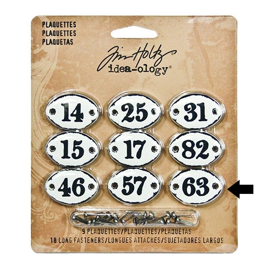 Tim Holtz Idea-ology Metal Plaquette Number 63 + Long Fasteners