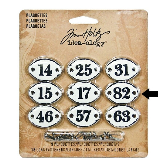 Tim Holtz Idea-ology Metal Plaquette Number 82 + Long Fasteners