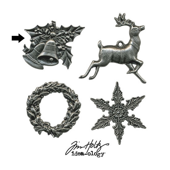 Tim Holtz Idea-ology Metal Bells Charm Adornment Christmas