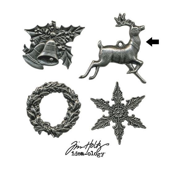 Tim Holtz Idea-ology Metal Reindeer Charm Adornment Christmas