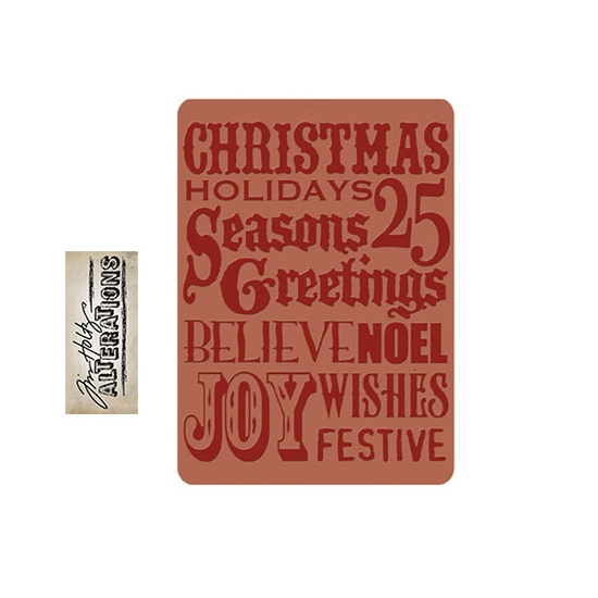 Sizzix Tim Holtz Alterations Texture Fades Embossing Folder Holiday Print A2 Large