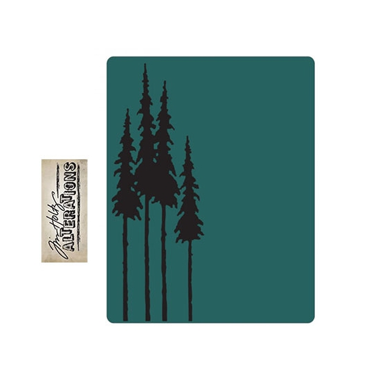 Sizzix Tim Holtz Alterations Texture Fades Embossing Folder Tall Pines A2 Large