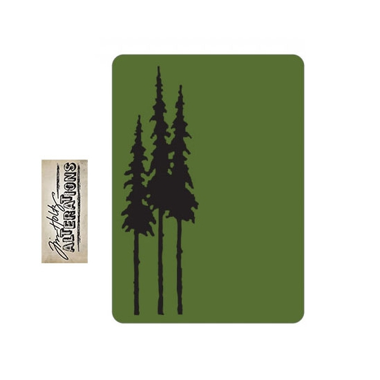 Sizzix Tim Holtz Alterations Texture Fades Embossing Folder Mini Tall Pines A2 Medium