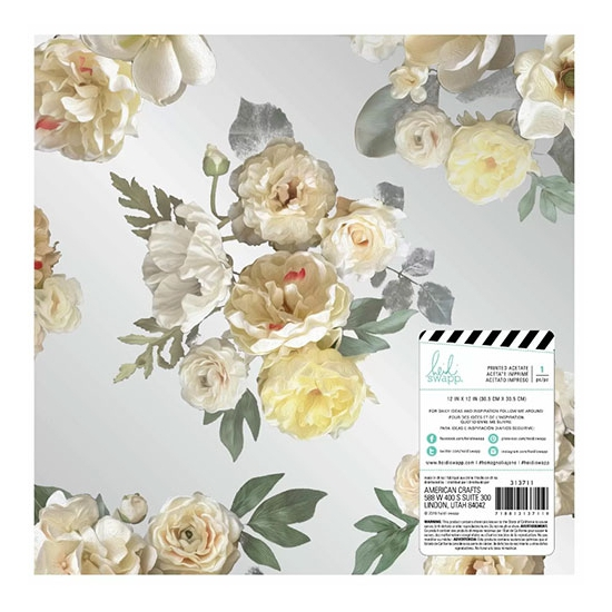 Heidi Swapp Clear Acetate Overlay Sheet Floral Magnolia Jane Collection