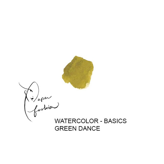 American Crafts Paper Fashion Watercolors Basics Refill Pan Green Dance