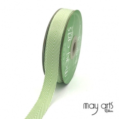 May Arts Twill Chevron Stripe Ribbon with Woven Edge Celery