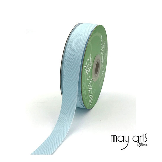 May Arts Twill Chevron Stripe Ribbon with Woven Edge Light Blue