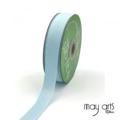 May Arts Twill Chevron Stripe Ribbon with Woven Edge Light Blue