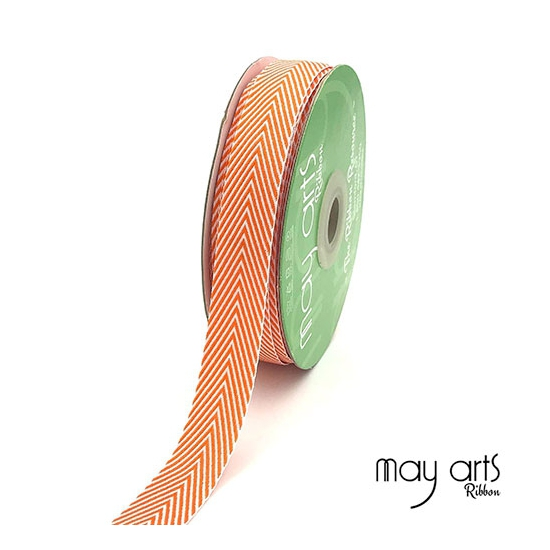 May Arts Twill Chevron Stripe Ribbon with Woven Edge Orange