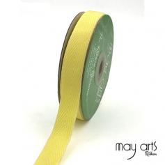 May Arts Twill Chevron Stripe Ribbon with Woven Edge Yellow